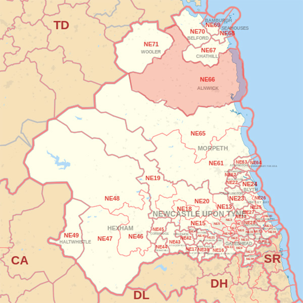 Map showing the NE66 Postcode area Covered By Eyemouth  skip Hire