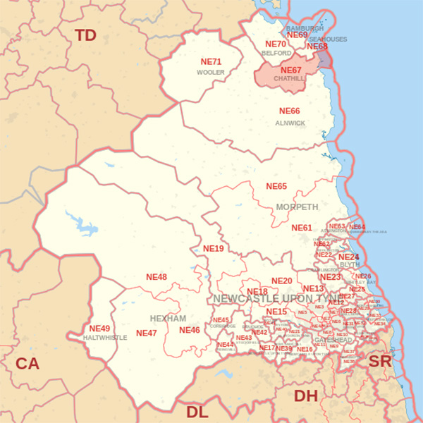 Map showing the NE67 Postcode area Covered By Eyemouth  skip Hire