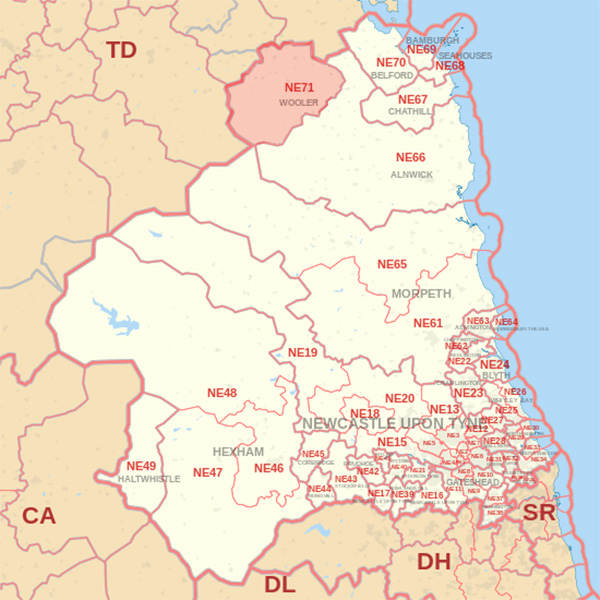 Map showing the NE71 Postcode area Covered By Berwick skip Hire