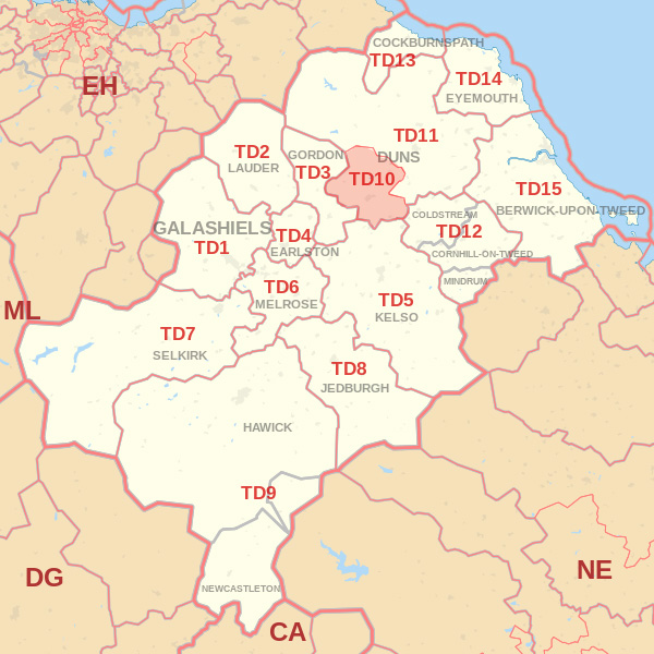 Map showing the TD10 Postcode area Covered By Eyemouth  skip Hire