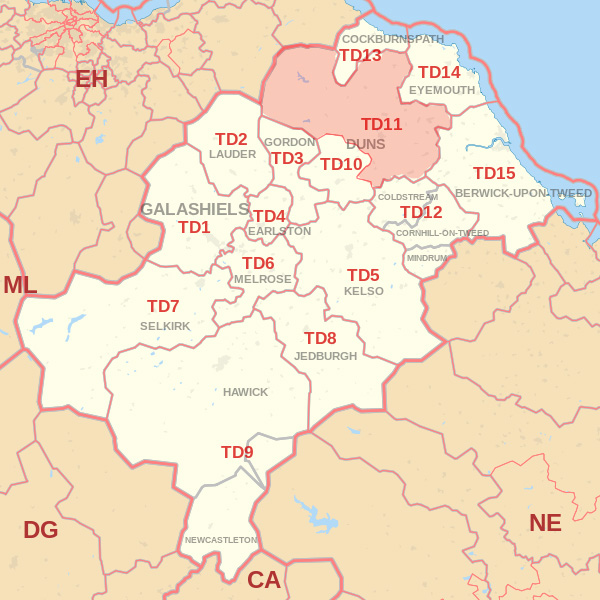 Map showing the TD11 Postcode area Cpvered By Berwick skip Hire