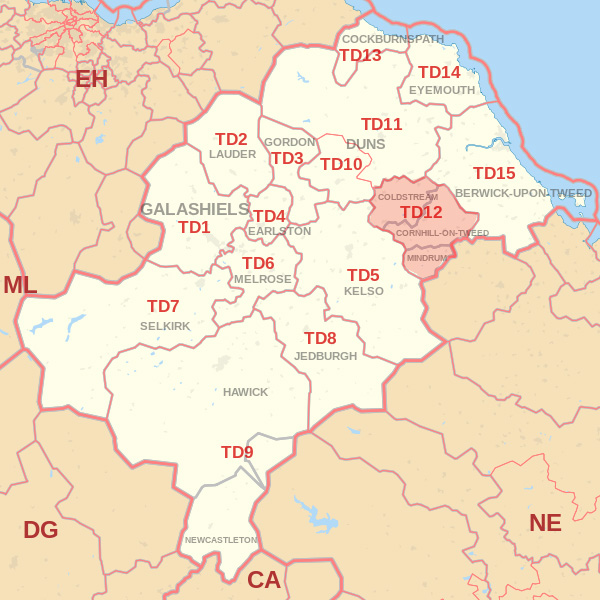 Map showing the TD12 Postcode area Covered By Eyemouth  skip Hire