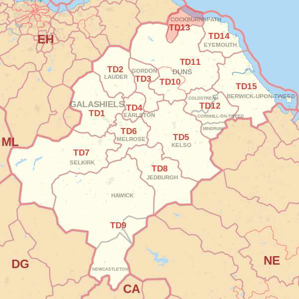 Map showing the TD13 Postcode area Covered By Eyemouth  skip Hire