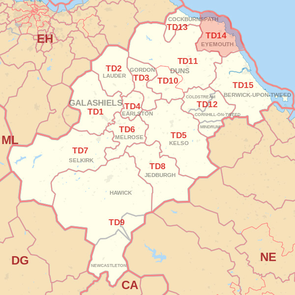 Map showing the TD14 Postcode area Covered By Eyemouth  skip Hire