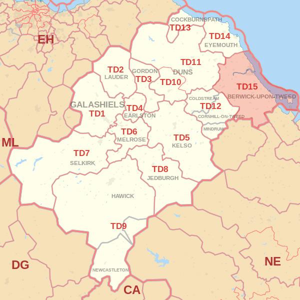 Map showing the TD15 Postcode area Covered By Eyemouth  skip Hire