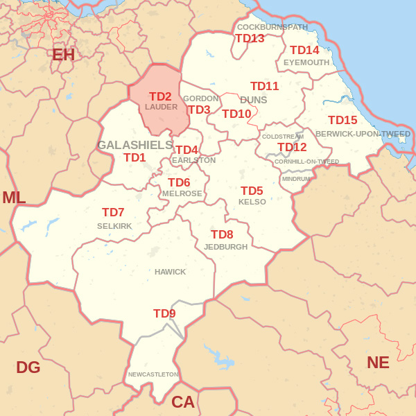 Map showing the TD2 Postcode area Covered By Eyemouth skip Hire