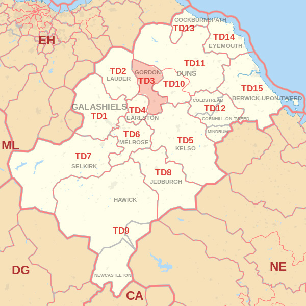 Map showing the TD3 Postcode area Covered By Eyemouth skip Hire