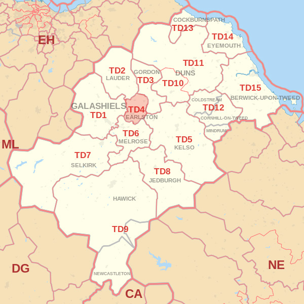 Map showing the TD4 Postcode area Cpvered By Eyemouth skip Hire