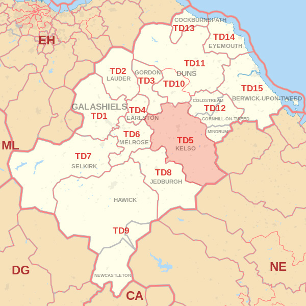 Map showing the TD5 Postcode area Covered By Eyemouth skip Hire
