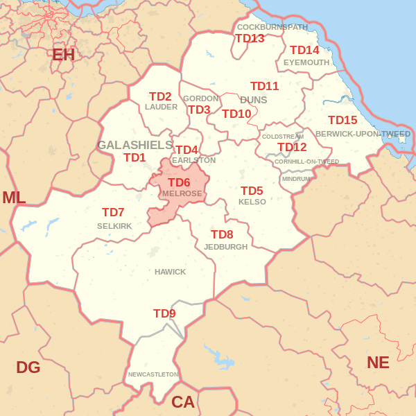 Map showing the TD6 Postcode area Cpvered By Eyemouth  skip Hire