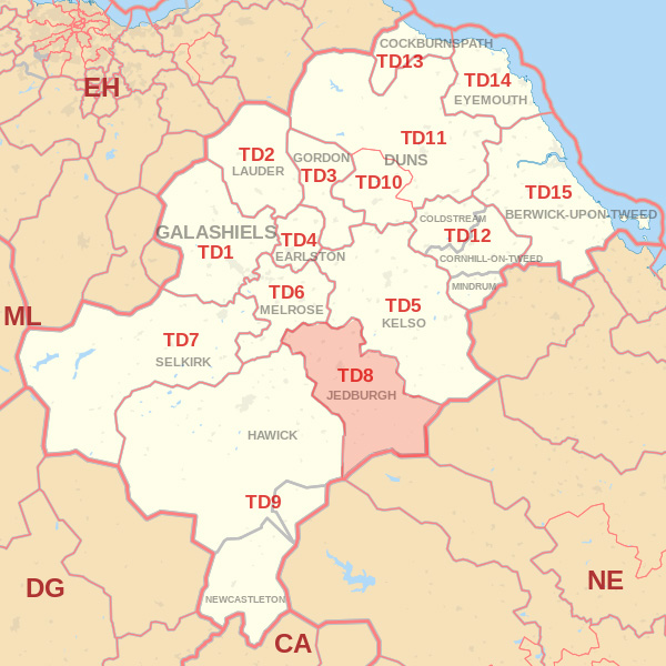 Map showing the TD8 Postcode area Cpvered By Berwick skip Hire